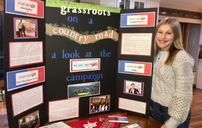 A social studies project display illustrating how to keep young people here w/ WV Can't Wait